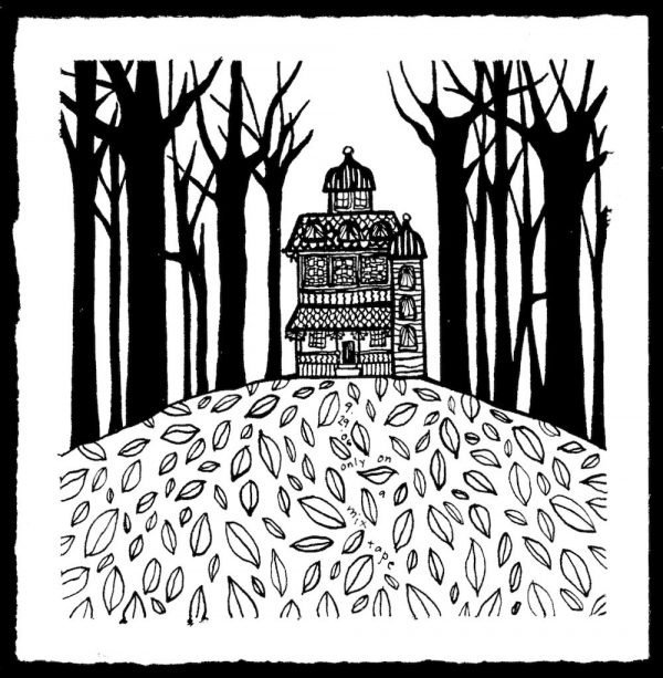 pen and ink drawing of a house on a hill with leafless trees