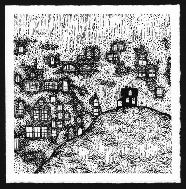 pen and ink drawing of houses obscured by rain