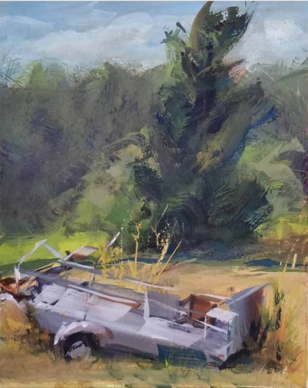 gouache painting of old car in a field with trees
